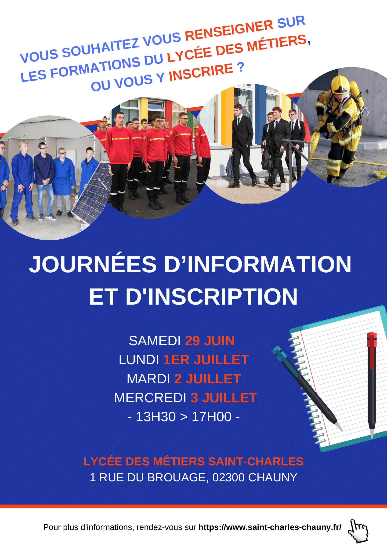 Journée d'information et d'inscription Lycée des Métiers Saint-Charles Chauny