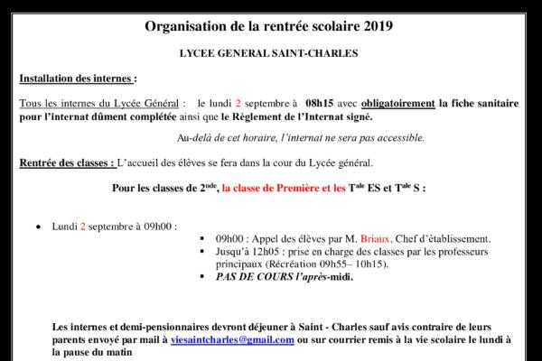 Organisation de la rentrée 2019 pour le Lycée Général