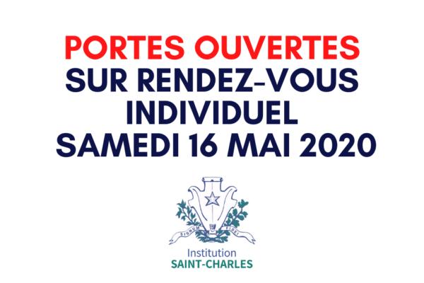 Inscription en ligne pour les Portes Ouvertes sur rendez-vous individuel, le Samedi 16 Mai 2020