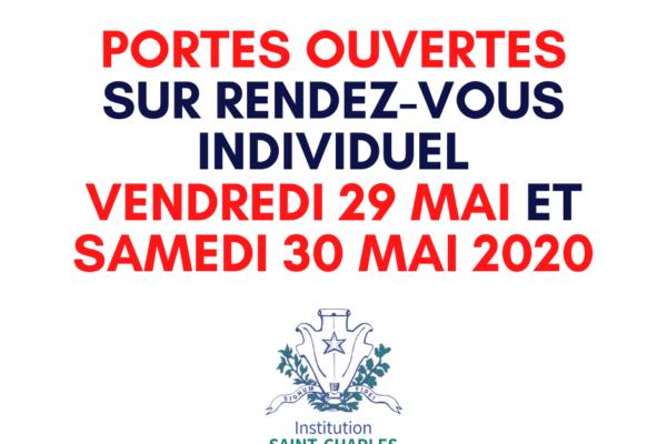 Inscription en ligne pour les Portes Ouvertes sur rendez-vous individuel, le vendredi 29 mai ou le samedi 30 mai 2020