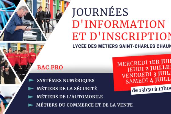 📋Journées d'Information et d'Inscription au Lycée des Métiers, les 1er, 2, 3 et 4 juillet de 13h30 à 17h00