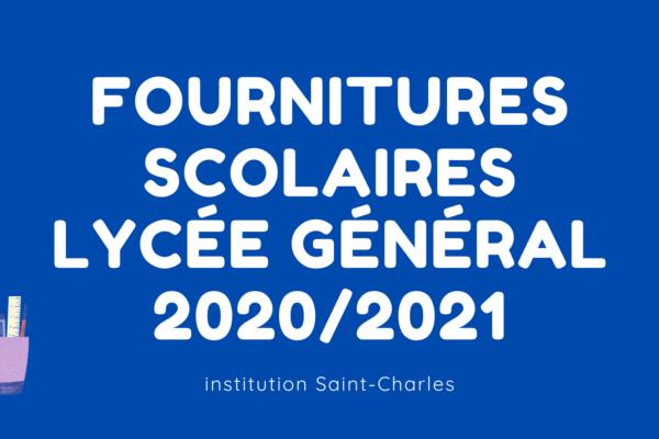 Founitures scolaires Lycée Général 2020-2021