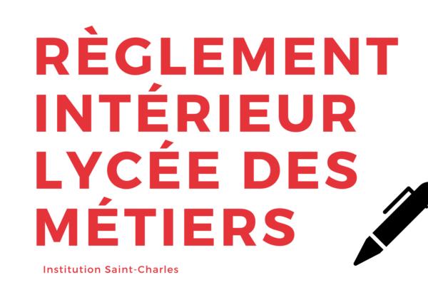 Règlement Intérieur Lycée des Métiers