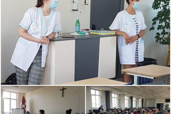 Intervention de deux infirmières de l'hôpital de Chauny pour sensibiliser au port du masque